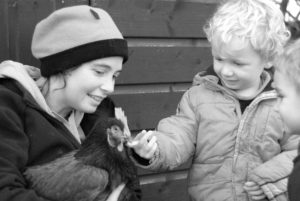 Bookings Manager Hannah with her son (and the very first Clan apprentice) Dougal on their family farm